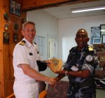 Cdre Bekkering with the commander of the Djiboutian Navy, Capt Aden Cher