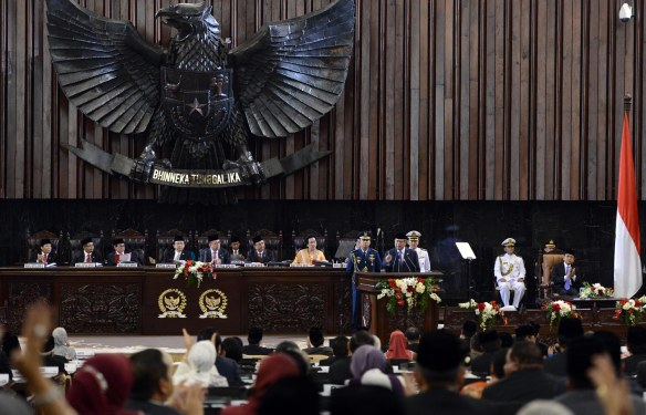 Presiden SBY menyampaikan pidato kenegaraan di hadapan sidang bersama DPR dan DPD RI di Gedung DPR/MPR, Jakarta, Jumat (16/8) pagi. (foto: cahyo/presidenri.go.id)